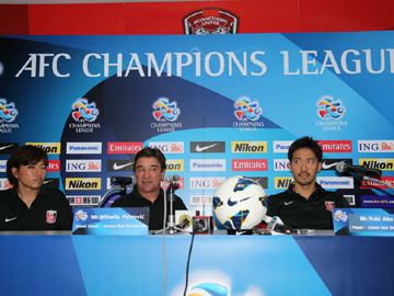 Team Manager Mischa and Abe attend official interview session the day before the match against SCG Muangthong United Football Club
