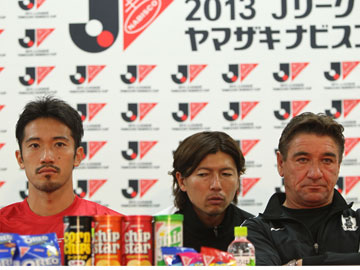 Team Manager Mischa and Captain Abe attend pre-match press conference for Yamazaki Nabisco Cup Final