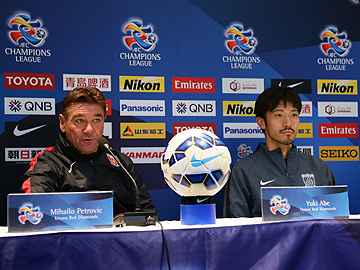 Team Manager Mischa and Abe attend official pre-match press conference