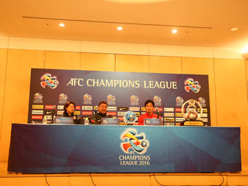 Team Manager Mischa and Captain Abe attend official interview session before the match against Sydney FC