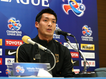 Team Manager Mischa and Player Makino attend official interview session before the match against Pohang Steelers