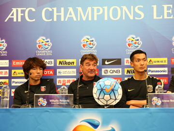Team Manager Mischa and Player Makino attend official interview session before the match against Sydney FC