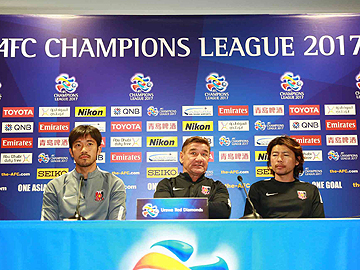 Team Manager Mischa and Captain Abe attend official interview session the day before the match against Western Sydney Wanderers FC