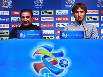 Team Manager Mischa and Player Daisuke Nasu attend official interview session the day before the match against FC Seoul