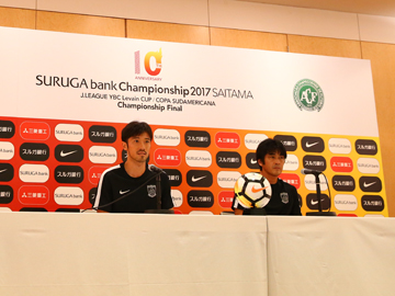 Team Manager Hori and Player Abe attend official interview session the day before the match against Chapecoense