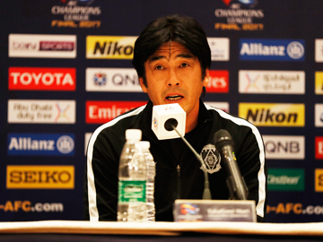 Team Manager Hori and Player Endo attend an official interview session the day before the match against Al-Hilal FC