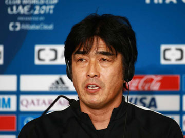 Team Manager Hori and Goal Keeper Nishikawa attend an official interview session the day before the match against Wydad Casablanca