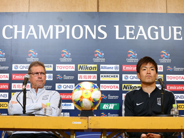 Team Manager Oswaldo and Nishikawa attend official interview session the day before the ACL match against Buriram United F.C.