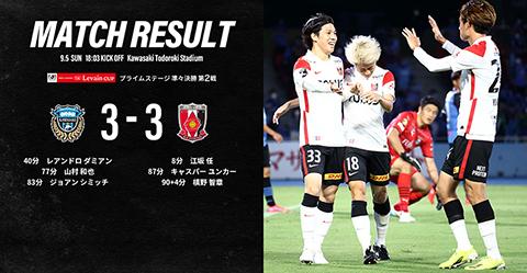J.LEAGUE YBC Levain CUP Prime Stage Quarter-final 2nd leg vs Kawasaki Frontale(Result)