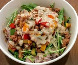 夏野菜の豆乳坦々飯