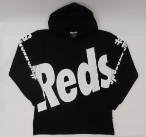 長袖クルーネックパーカー(Reds)黒