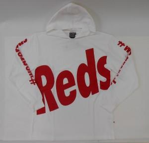 長袖クルーネックパーカー(Reds)白