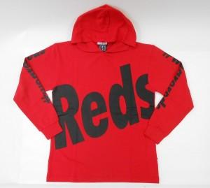 長袖クルーネックパーカー(Reds)赤
